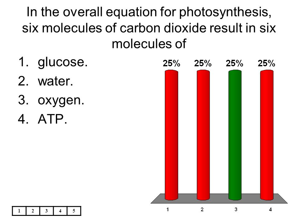 chemical equation for photsynthesis Photosynthesis is the combining of carbon dioxide and water to make glucose and oxygen the equation is: #12 h_2o + 6 co_2 - 6 h_2o + c_6h_12o_6 + 6o_2# this reaction must occur in the presence of sunlight because light energy is required.