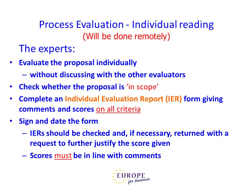 Process Evaluation - Individual reading (Will be done remotely)