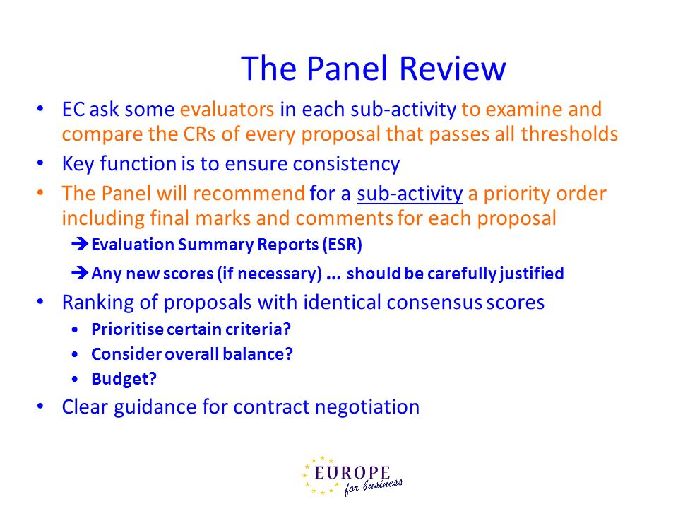 The Panel Review EC ask some evaluators in each sub-activity to examine and compare the CRs of every proposal that passes all thresholds.