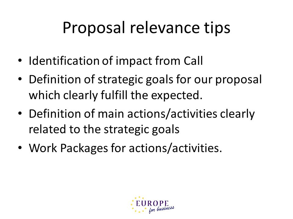 Proposal relevance tips