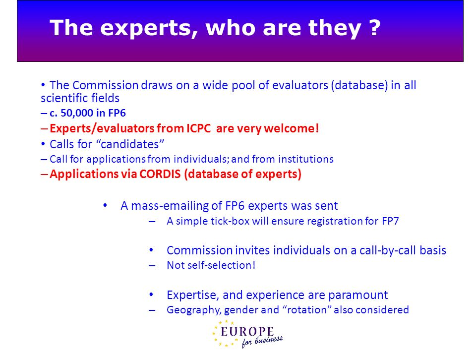 The experts, who are they