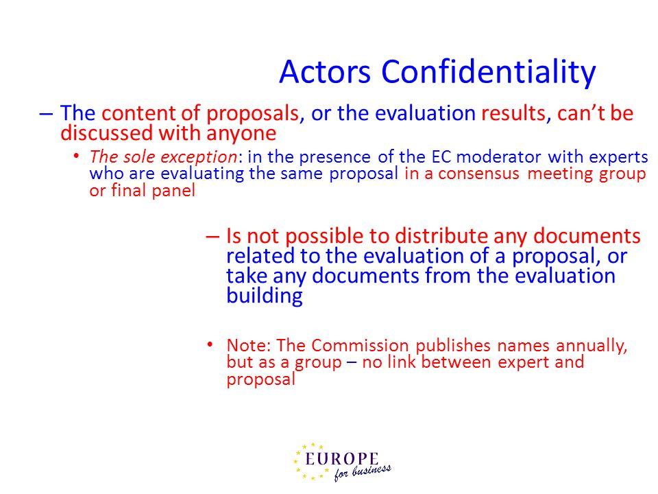 Actors Confidentiality