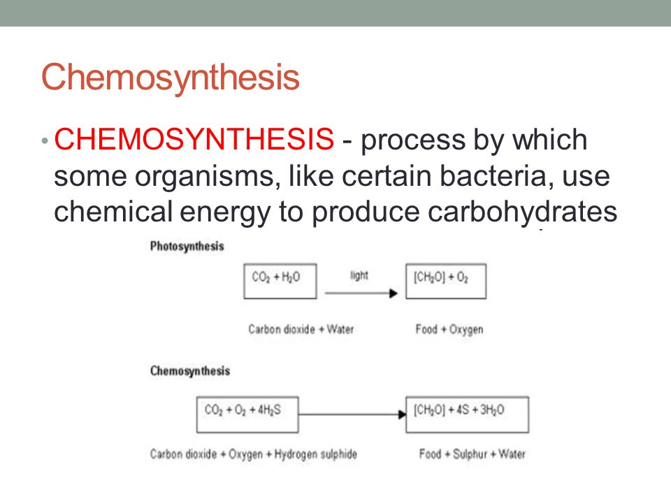 chemosynthesis of glucose They both get energy from inorganic materials photosynthesis uses sunlight and   what is a similarity between photosynthesis and chemosynthesis the  similarity between photsynthesis and chemosynthesis is that they both make  glucose.
