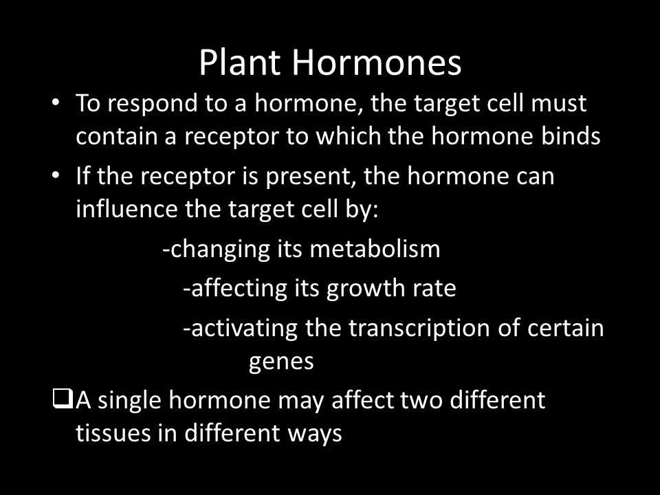 Plant Hormones To respond to a hormone, the target cell must contain a receptor to which the hormone binds.
