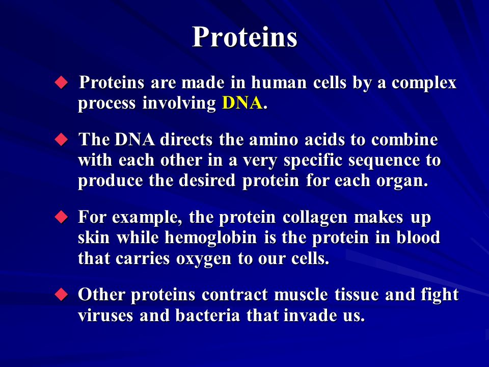 Proteins Proteins are made in human cells by a complex process involving DNA.