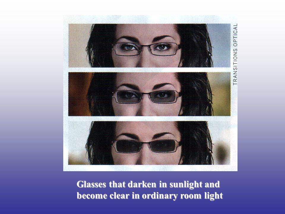 Glasses that darken in sunlight and