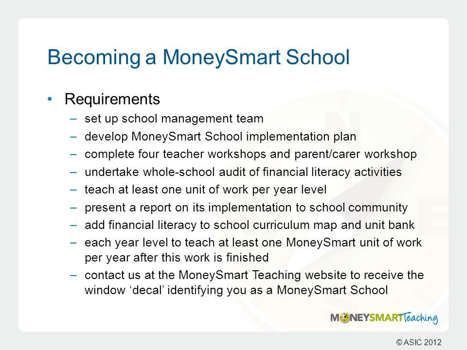 Becoming a MoneySmart School