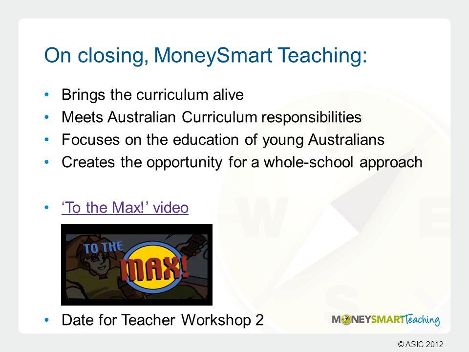 On closing, MoneySmart Teaching: