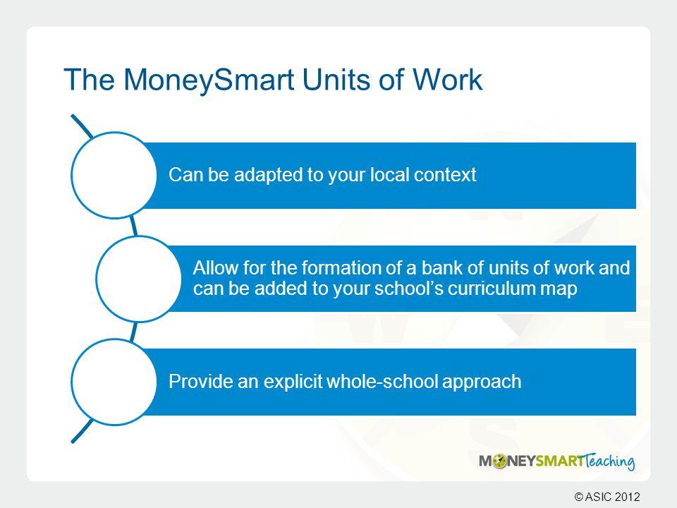 The MoneySmart Units of Work