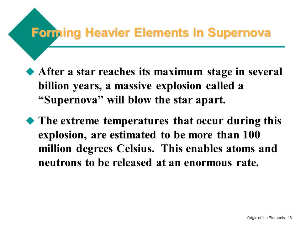 Forming Heavier Elements in Supernova