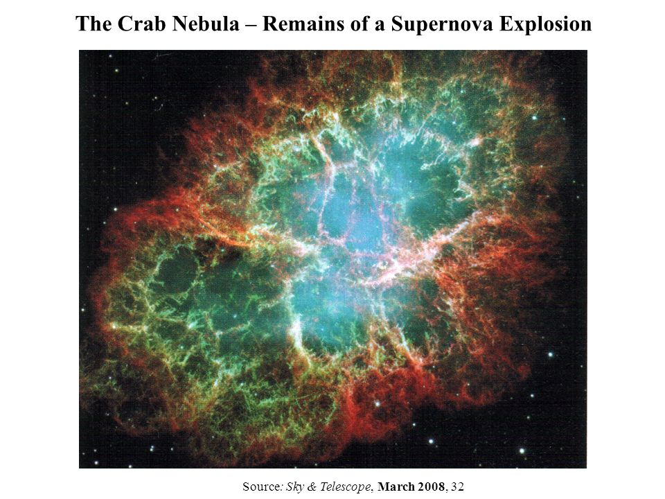 The Crab Nebula – Remains of a Supernova Explosion