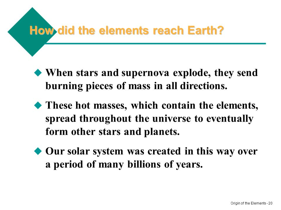 How did the elements reach Earth