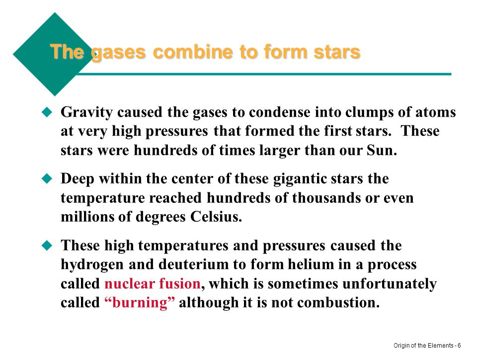 The gases combine to form stars