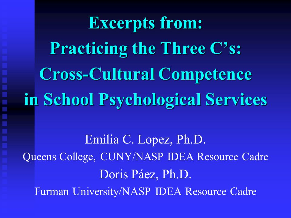 Practicing the Three C's: Cross-Cultural Competence
