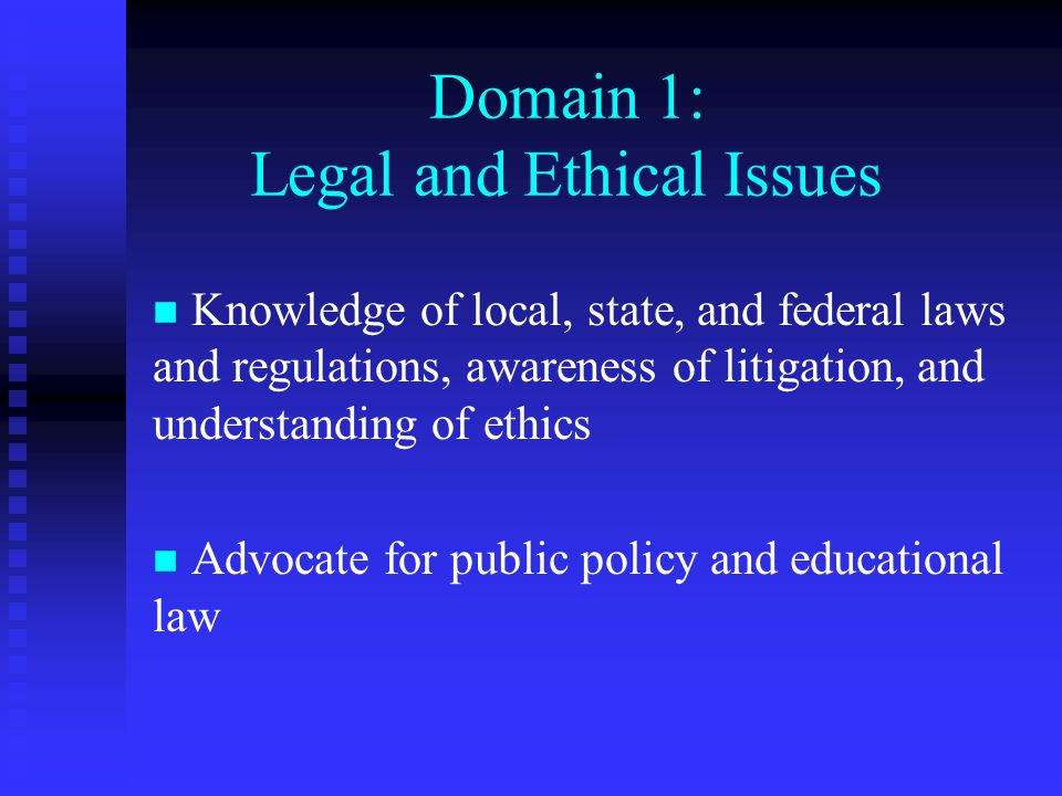 Domain 1: Legal and Ethical Issues