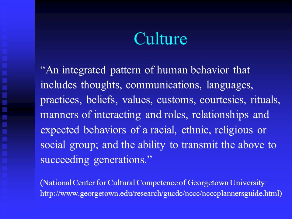 Culture An integrated pattern of human behavior that