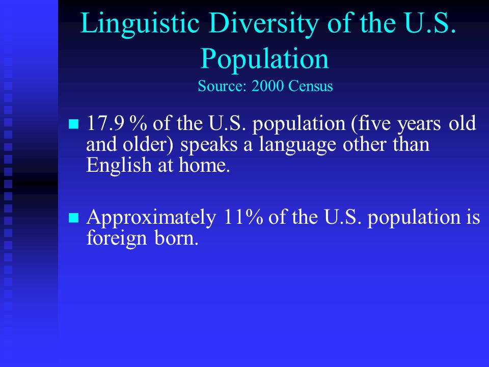 Linguistic Diversity of the U.S. Population Source: 2000 Census