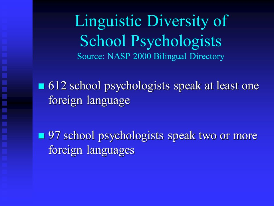 Linguistic Diversity of School Psychologists Source: NASP 2000 Bilingual Directory