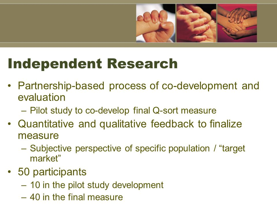 Independent Research Partnership-based process of co-development and evaluation. Pilot study to co-develop final Q-sort measure.