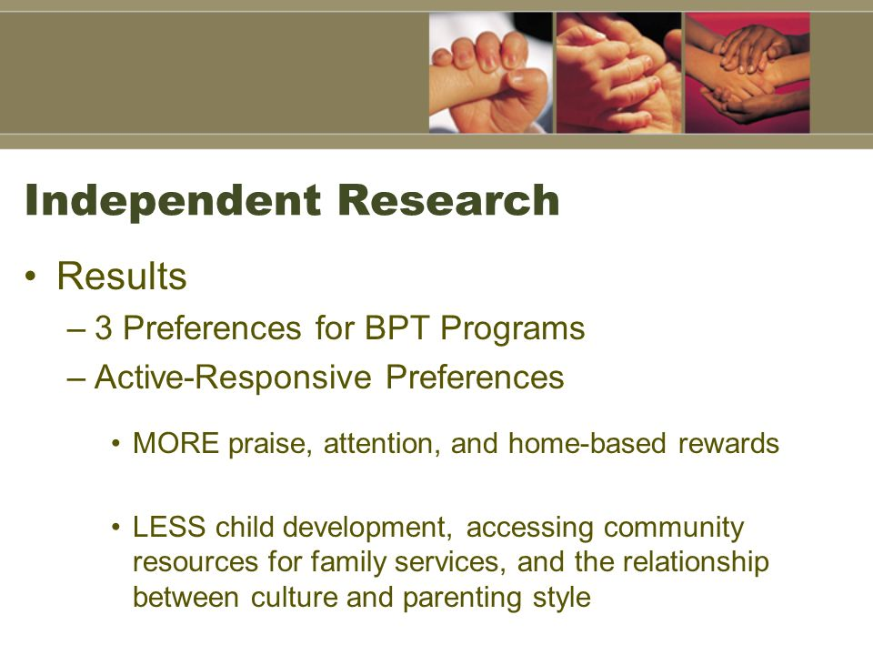 Independent Research Results 3 Preferences for BPT Programs