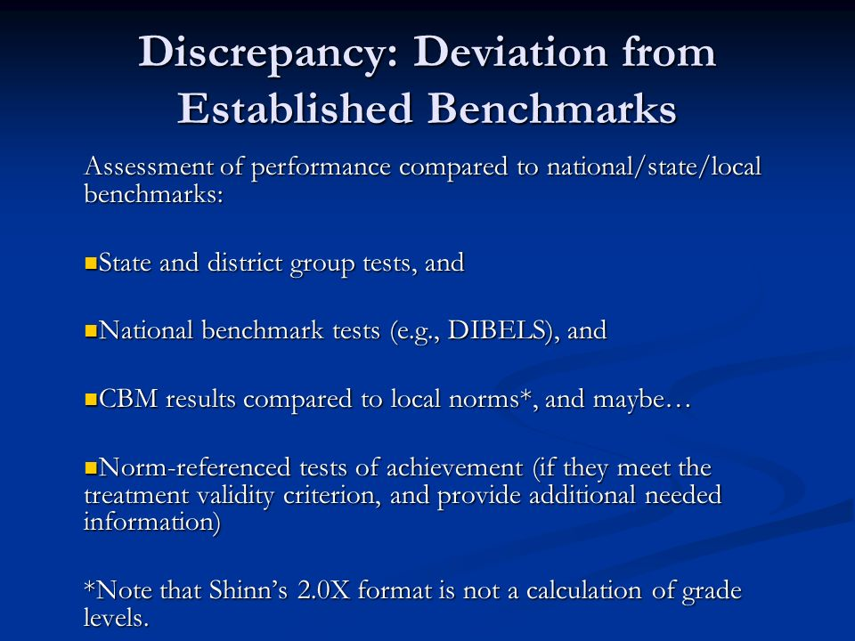 Discrepancy: Deviation from Established Benchmarks