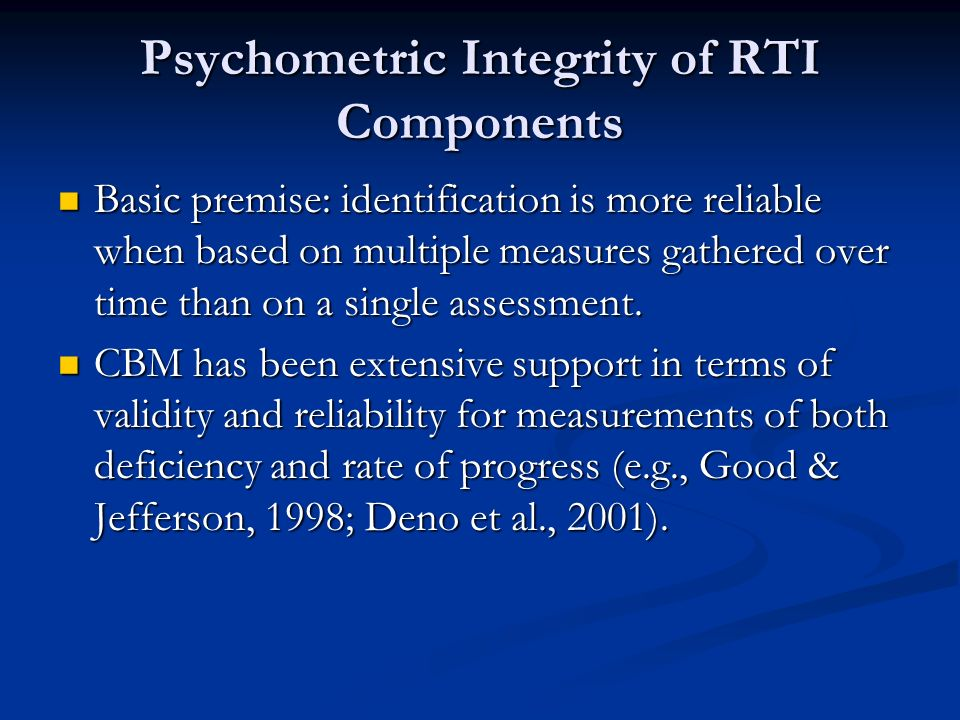 Psychometric Integrity of RTI Components