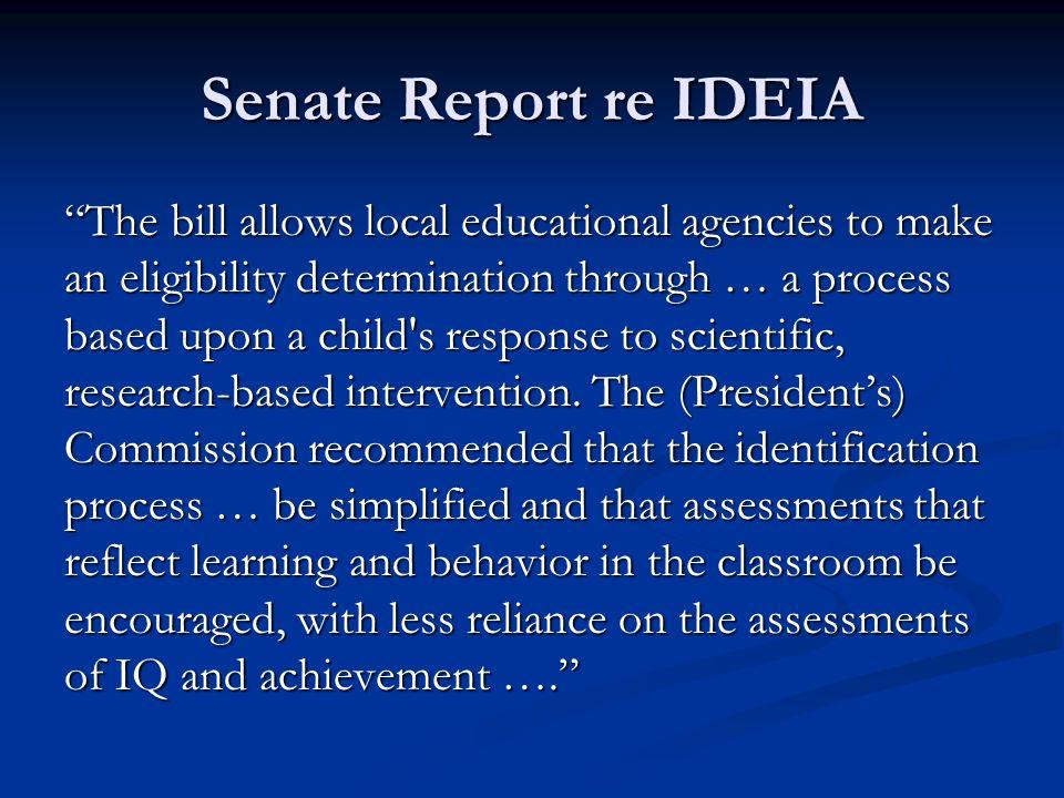Senate Report re IDEIA