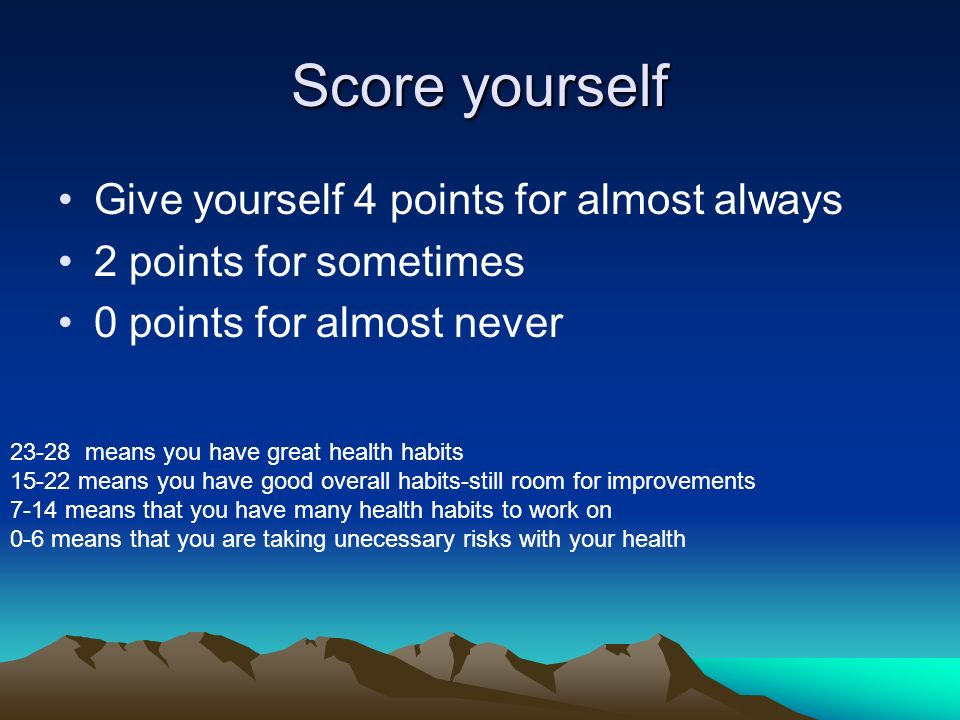 Score yourself Give yourself 4 points for almost always