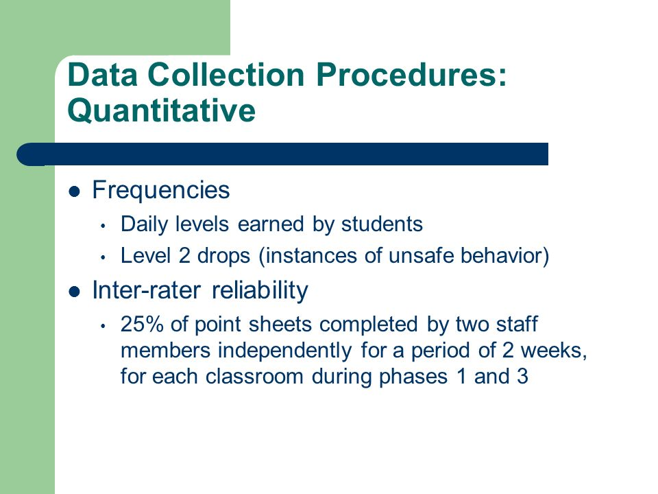 Data Collection Procedures: Quantitative