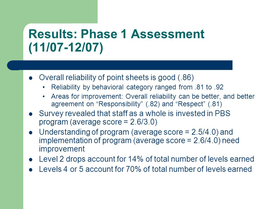 Results: Phase 1 Assessment (11/07-12/07)