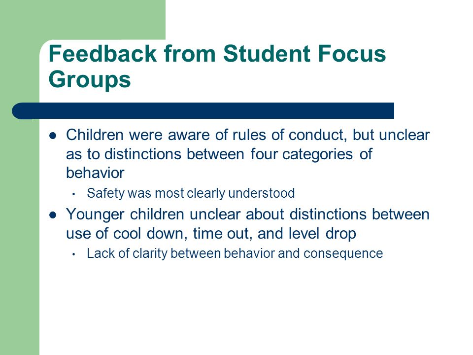 Feedback from Student Focus Groups