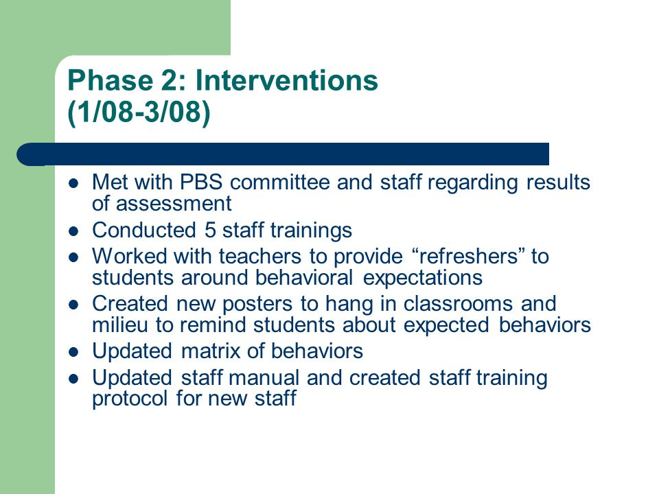 Phase 2: Interventions (1/08-3/08)