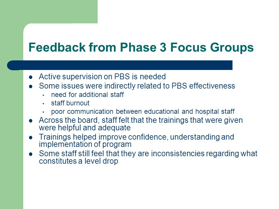 Feedback from Phase 3 Focus Groups