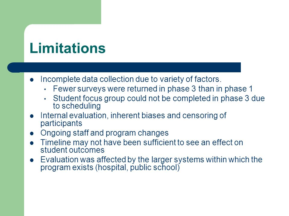 Limitations Incomplete data collection due to variety of factors.