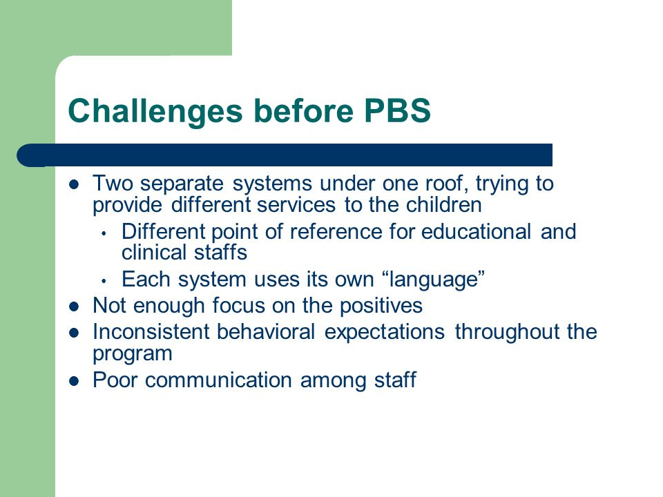 Challenges before PBS Two separate systems under one roof, trying to provide different services to the children.