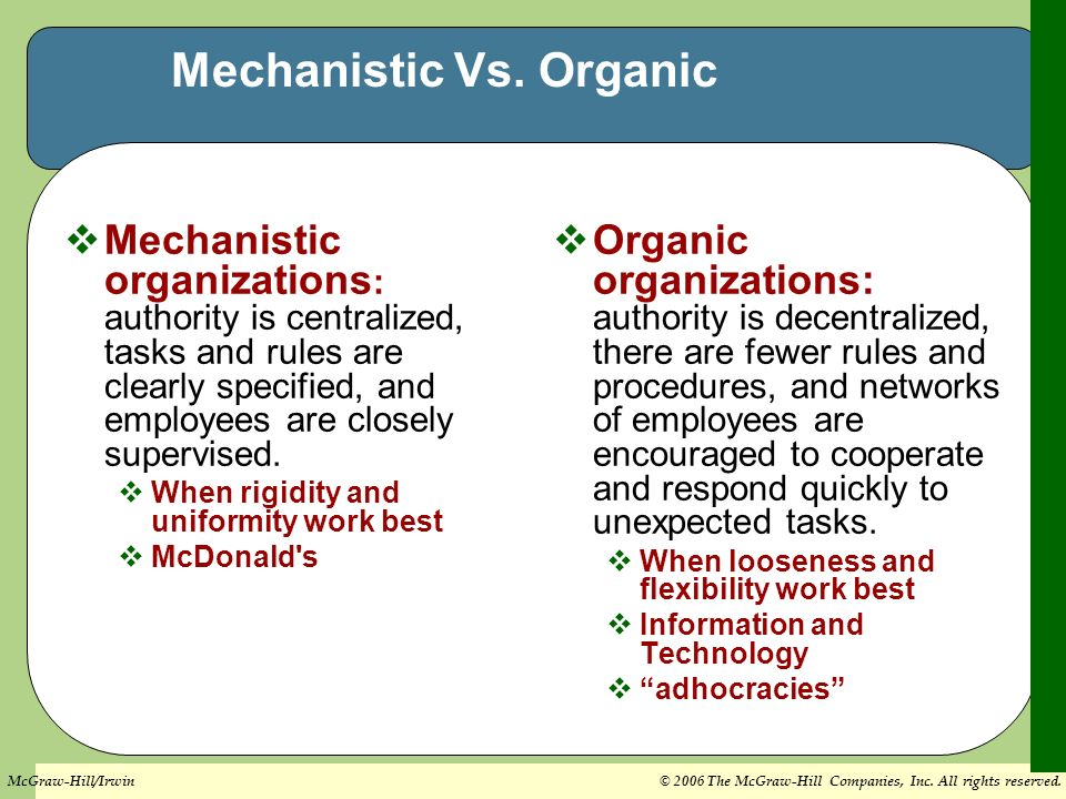 centralized vs decentralized organic structure Organisations with a combined centralised and decentralised structure organisations may decide that a combination of centralisation and decentralisation is more.