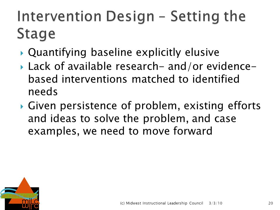 Intervention Design – Setting the Stage