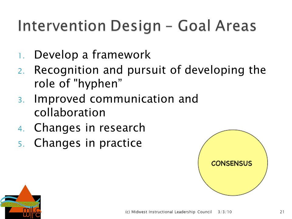 Intervention Design – Goal Areas