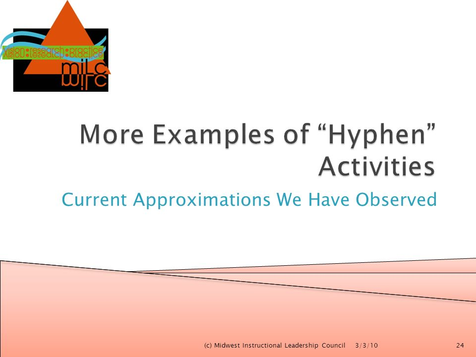 More Examples of Hyphen Activities