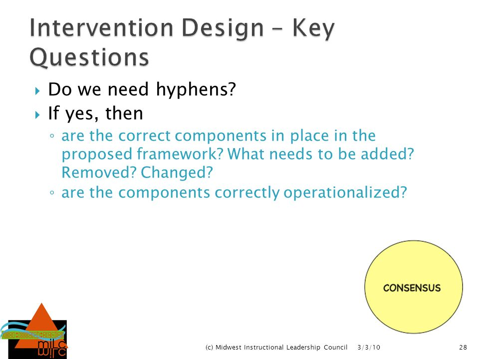 Intervention Design – Key Questions