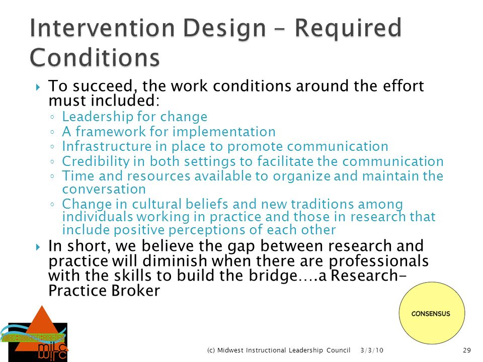 Intervention Design – Required Conditions