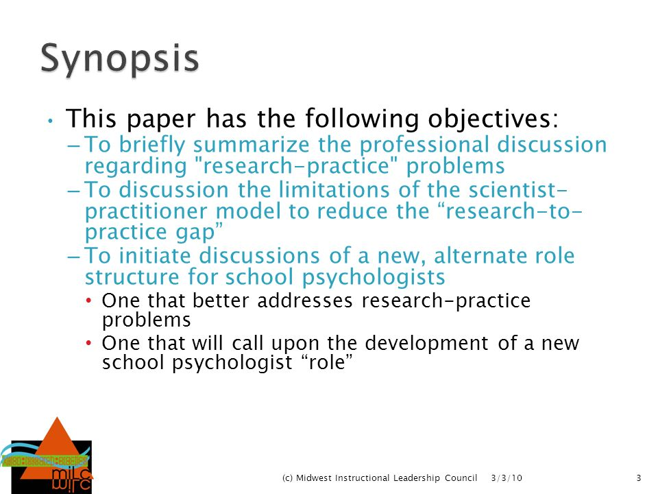 Synopsis This paper has the following objectives: