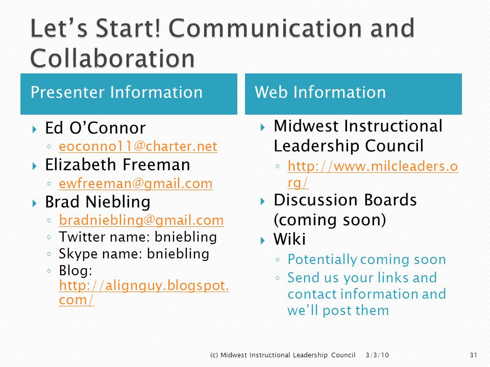 Let's Start! Communication and Collaboration