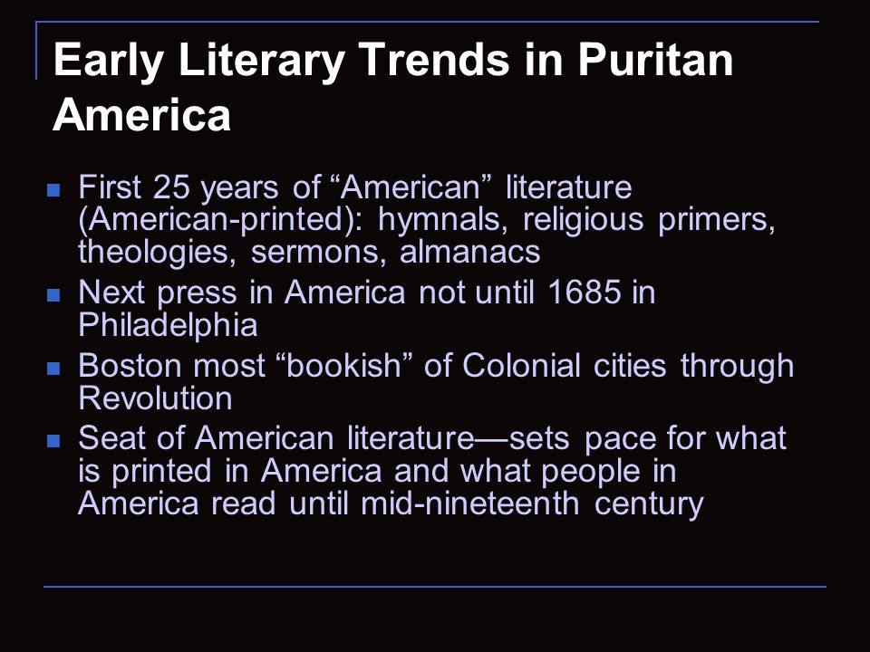 religion in colonial american literature Religion and colonial writing early colonial writers spoke of transforming the landscape and its people in his report from the mayflower, william bradford found the land, a hideous and desolate wilderness, full of wild beasts and wild men.