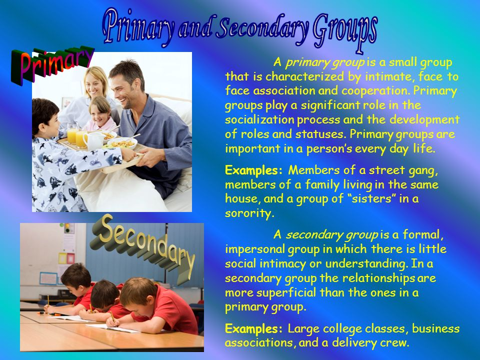 primary and secondary groups Social group: social group known classifications of groups was the american sociologist ch cooley's distinction between primary and secondary groups.