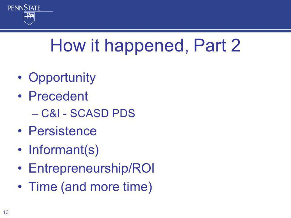 How it happened, Part 2 Opportunity Precedent Persistence Informant(s)