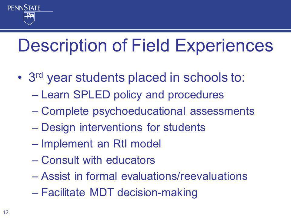 Description of Field Experiences