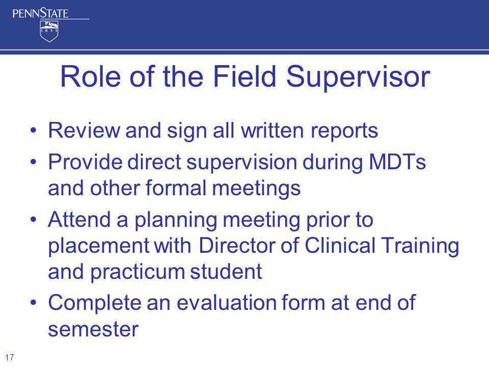 Role of the Field Supervisor