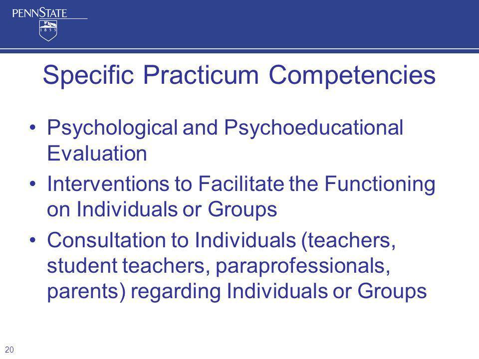 Specific Practicum Competencies