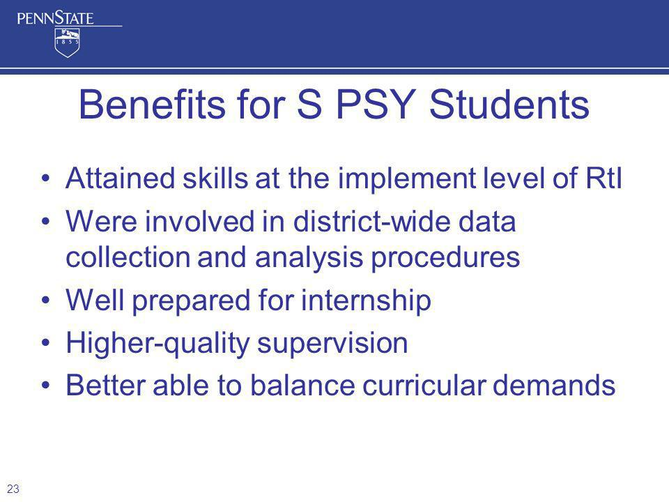 Benefits for S PSY Students